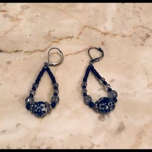 Navy and white earrings